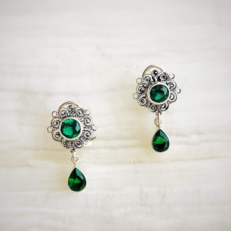 Aretes Coronita circonia verde esmeralda